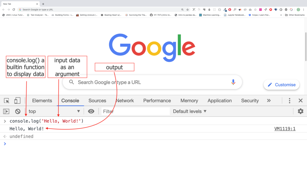 js code on chrome console