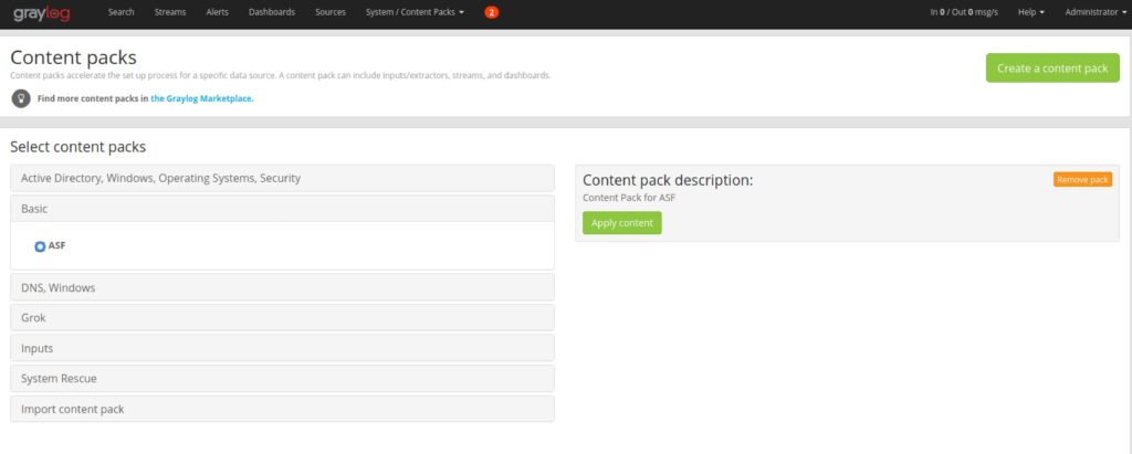 Graylog content pack